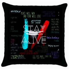 Twenty One Pilots Stay Alive Song Lyrics Quotes Throw Pillow Case (black) by Onesevenart