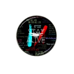 Twenty One Pilots Stay Alive Song Lyrics Quotes Hat Clip Ball Marker by Onesevenart
