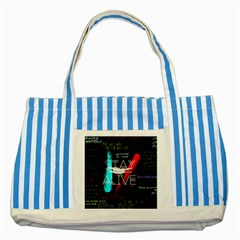 Twenty One Pilots Stay Alive Song Lyrics Quotes Striped Blue Tote Bag by Onesevenart