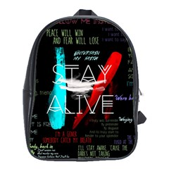 Twenty One Pilots Stay Alive Song Lyrics Quotes School Bags(large)  by Onesevenart