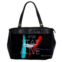 Twenty One Pilots Stay Alive Song Lyrics Quotes Office Handbags by Onesevenart