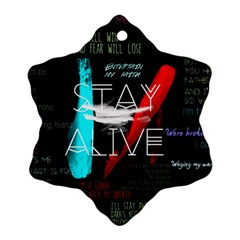 Twenty One Pilots Stay Alive Song Lyrics Quotes Snowflake Ornament (two Sides) by Onesevenart