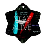 Twenty One Pilots Stay Alive Song Lyrics Quotes Snowflake Ornament (Two Sides)
