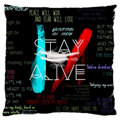 Twenty One Pilots Stay Alive Song Lyrics Quotes Large Cushion Case (one Side) by Onesevenart