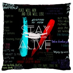 Twenty One Pilots Stay Alive Song Lyrics Quotes Large Flano Cushion Case (two Sides) by Onesevenart