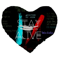 Twenty One Pilots Stay Alive Song Lyrics Quotes Large 19  Premium Flano Heart Shape Cushions by Onesevenart