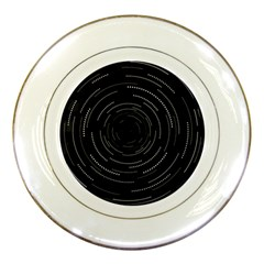 Abstract Black White Geometric Arcs Triangles Wicker Structural Texture Hole Circle Porcelain Plates by Mariart