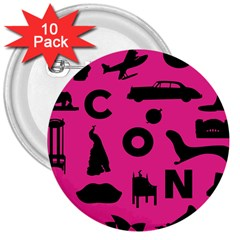 Car Plan Pinkcover Outside 3  Buttons (10 Pack)  by Mariart