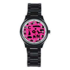 Car Plan Pinkcover Outside Stainless Steel Round Watch by Mariart