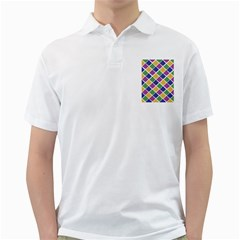 African Illutrations Plaid Color Rainbow Blue Green Yellow Purple White Line Chevron Wave Polkadot Golf Shirts by Mariart