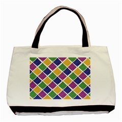 African Illutrations Plaid Color Rainbow Blue Green Yellow Purple White Line Chevron Wave Polkadot Basic Tote Bag (two Sides) by Mariart