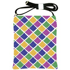 African Illutrations Plaid Color Rainbow Blue Green Yellow Purple White Line Chevron Wave Polkadot Shoulder Sling Bags by Mariart