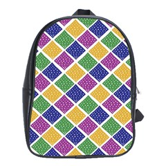 African Illutrations Plaid Color Rainbow Blue Green Yellow Purple White Line Chevron Wave Polkadot School Bags (xl)  by Mariart
