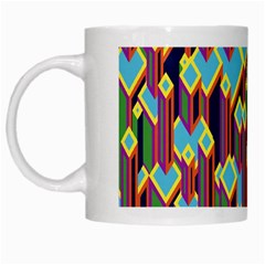 Building City Plaid Chevron Wave Blue Green White Mugs by Mariart
