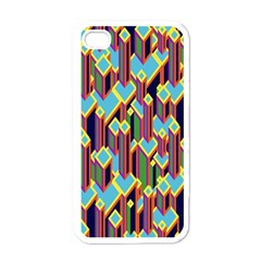 Building City Plaid Chevron Wave Blue Green Apple Iphone 4 Case (white) by Mariart