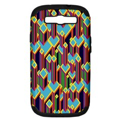Building City Plaid Chevron Wave Blue Green Samsung Galaxy S Iii Hardshell Case (pc+silicone) by Mariart