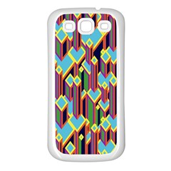 Building City Plaid Chevron Wave Blue Green Samsung Galaxy S3 Back Case (white) by Mariart