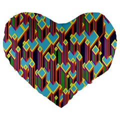 Building City Plaid Chevron Wave Blue Green Large 19  Premium Flano Heart Shape Cushions by Mariart