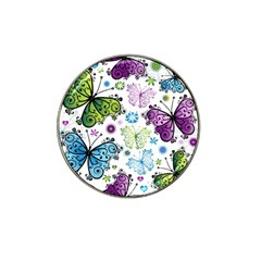 Butterfly Animals Fly Purple Green Blue Polkadot Flower Floral Star Hat Clip Ball Marker (10 Pack) by Mariart