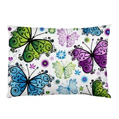 Butterfly Animals Fly Purple Green Blue Polkadot Flower Floral Star Pillow Case by Mariart