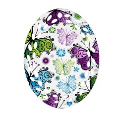 Butterfly Animals Fly Purple Green Blue Polkadot Flower Floral Star Oval Filigree Ornament (two Sides) by Mariart