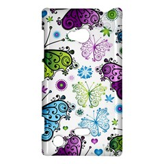 Butterfly Animals Fly Purple Green Blue Polkadot Flower Floral Star Nokia Lumia 720 by Mariart