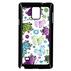 Butterfly Animals Fly Purple Green Blue Polkadot Flower Floral Star Samsung Galaxy Note 4 Case (black) by Mariart