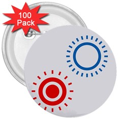 Color Light Effect Control Mode Circle Red Blue 3  Buttons (100 Pack)  by Mariart