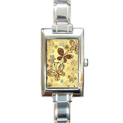Butterfly Animals Fly Purple Gold Polkadot Flower Floral Star Sunflower Rectangle Italian Charm Watch by Mariart