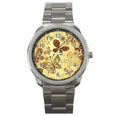 Butterfly Animals Fly Purple Gold Polkadot Flower Floral Star Sunflower Sport Metal Watch by Mariart