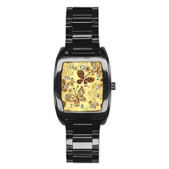 Butterfly Animals Fly Purple Gold Polkadot Flower Floral Star Sunflower Stainless Steel Barrel Watch by Mariart