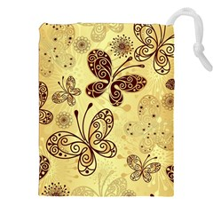 Butterfly Animals Fly Purple Gold Polkadot Flower Floral Star Sunflower Drawstring Pouches (xxl) by Mariart
