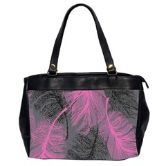 Feathers Quill Pink Grey Office Handbags (2 Sides)  by Mariart