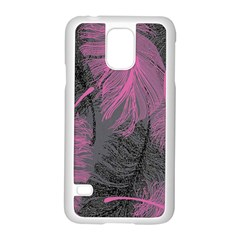 Feathers Quill Pink Grey Samsung Galaxy S5 Case (white) by Mariart