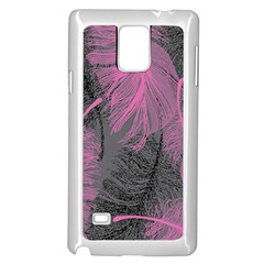 Feathers Quill Pink Grey Samsung Galaxy Note 4 Case (white) by Mariart