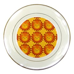 Cute Lion Face Orange Yellow Animals Porcelain Plates by Mariart