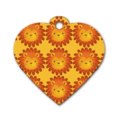 Cute Lion Face Orange Yellow Animals Dog Tag Heart (one Side) by Mariart