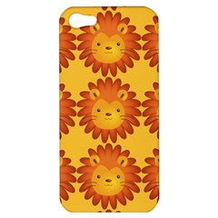 Cute Lion Face Orange Yellow Animals Apple Iphone 5 Hardshell Case by Mariart