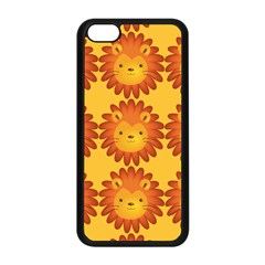 Cute Lion Face Orange Yellow Animals Apple Iphone 5c Seamless Case (black) by Mariart