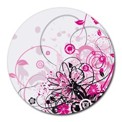 Wreaths Frame Flower Floral Pink Black Round Mousepads by Mariart