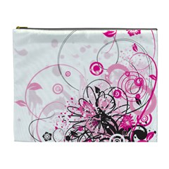 Wreaths Frame Flower Floral Pink Black Cosmetic Bag (xl) by Mariart