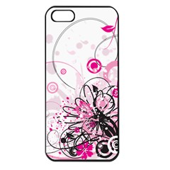 Wreaths Frame Flower Floral Pink Black Apple Iphone 5 Seamless Case (black) by Mariart