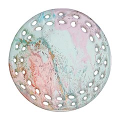 Geode Crystal Pink Blue Round Filigree Ornament (two Sides) by Mariart