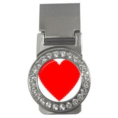 Heart Rhythm Inner Red Money Clips (cz)  by Mariart