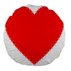 Heart Rhythm Inner Red Large 18  Premium Flano Round Cushions by Mariart