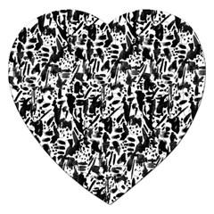 Deskjet Ink Splatter Black Spot Jigsaw Puzzle (Heart) by Mariart