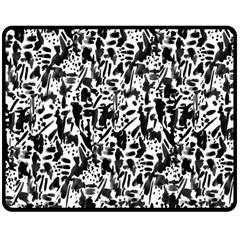 Deskjet Ink Splatter Black Spot Double Sided Fleece Blanket (medium)  by Mariart