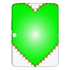 Heart Rhythm Inner Green Red Samsung Galaxy Tab 3 (10.1 ) P5200 Hardshell Case  by Mariart