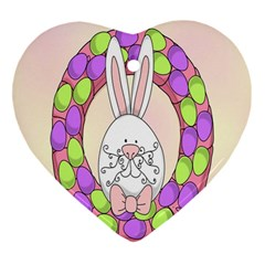 Make An Easter Egg Wreath Rabbit Face Cute Pink White Heart Ornament (two Sides) by Mariart