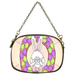 Make An Easter Egg Wreath Rabbit Face Cute Pink White Chain Purses (two Sides)  by Mariart